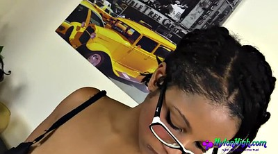 Masturbation nylon, Solo ebony, Glasses