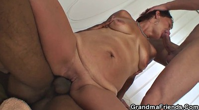 Threesome, Grandma, Wife threesome, Old granny, Sexy wife