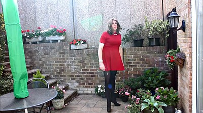 Pantyhose, Red, Dress, Dressed, Red dress
