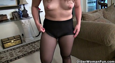 Hairy mature, Black pantyhose, American mature