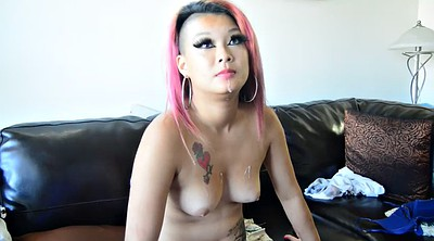 Cum in mouth, Pink hair, Asian cum in mouth