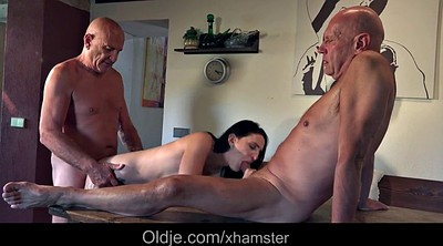 Kitchen, Two old, Old threesome, Old masturbation, Guy granny
