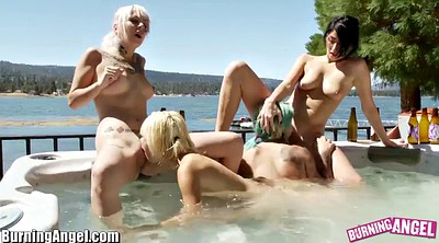 Lesbian pussy licking, Lesbian foursome
