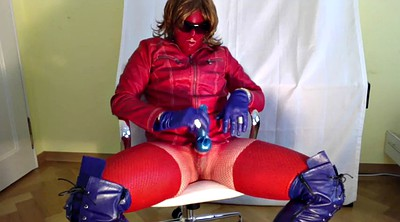 Boots, Leather gloves, Red
