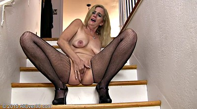 Pussy gaping, Mature and black, Fishnet