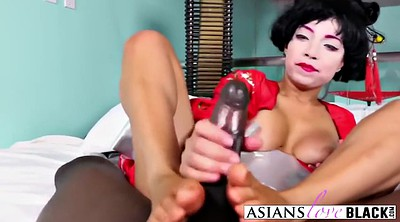 Footjob, Asian interracial