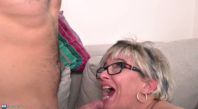Glasses, Granny anal, Short hair, Young orgasm