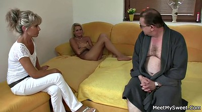 Old mom, Young old, Mature threesome