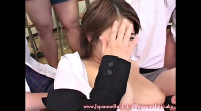Groping, Japanese gangbang, Student, Cream, Japanese teacher, Japanese orgy