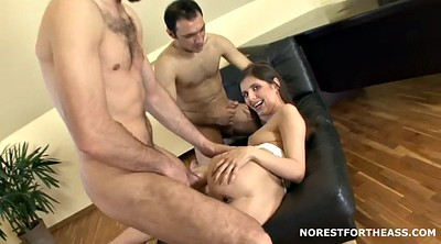 Double anal, Small ass, Russian threesome, No tits