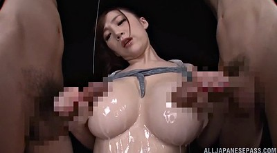 Japanese busty, Japanese handjob, Japanese threesome, Oil, Japanese love, Busty japanese