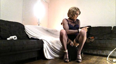 Chastity, Dildo riding, Dildo ride, Solo riding, Shemale heels, Heels solo