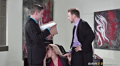 Secretary, Blonde milf, Office threesome