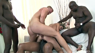 Interracial mature, Double pussy