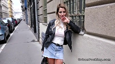 Huge tits, Street, Public street, Flashing in public