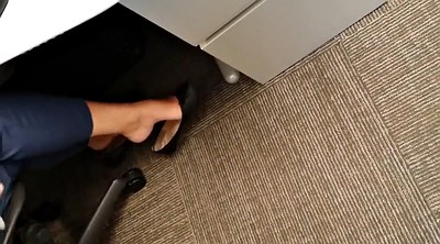 Foot, Office, Hidden masturbation, Hidden cam