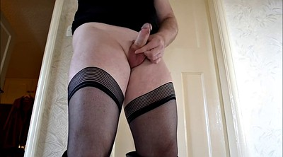 Crossdresser, Crossdressing, Pantyhose gay, Boot, Masturbation solo, Stockings solo