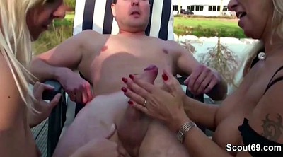 Daughter, Young, Mom seduce, Mom and daughter, German mom, Outdoor fuck