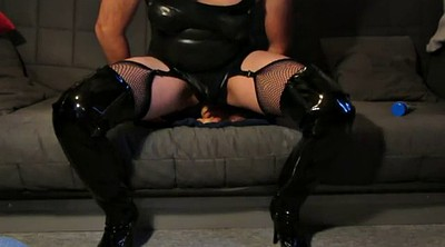 Latex, Boots, Huge dildo