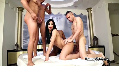 Brazilian shemale, Brazilian, Four, Shemale gangbang, Shemale cute