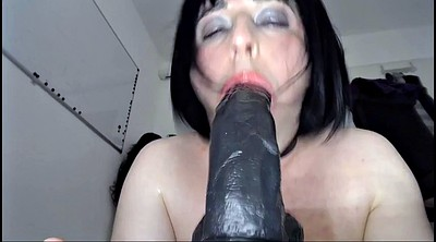 Giant dildo, Ebony dildo, Crossdresser sex, Black on black