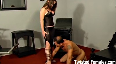 Leather, Lick boots, Femdom spanking