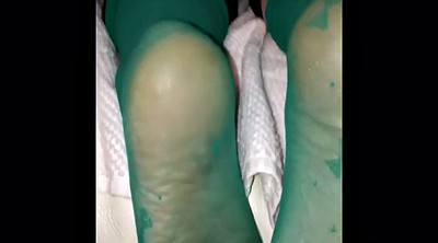 Job, Nylon feet, Foot job, Stocking feet, Green, Nylon foot
