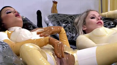 Latex, Rubber, Fist pregnant, Threesome fisting