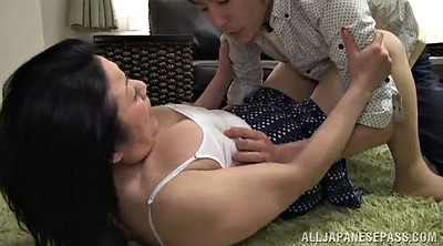 Asian mature, Asian guy, Hairy pussy