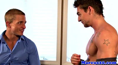 Muscle hunk, Bottom, Office masturbation, Gay office