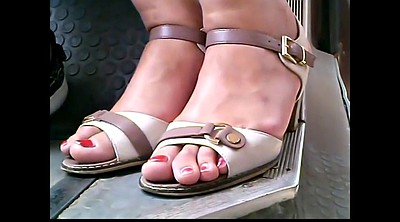 Bus, Closeup, Candid, Mature feet