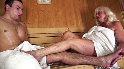 Old, Sauna, Mature granny