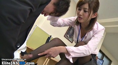 Feet, Nylon feet, Secretary, Japanese massage, Japanese footjob, Nylon footjob