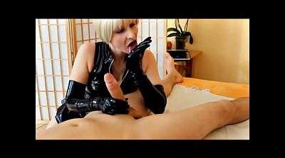 Glove, Gloves, Glove handjob, Latex masturbation, Blond short hair, Short haire