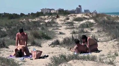 Public, Nudist, Beach, Foursome, Women
