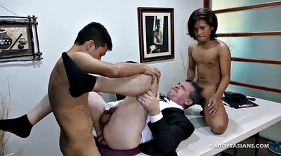 Office, Dad, Old gay, Asian office, Old asian, Gay old young