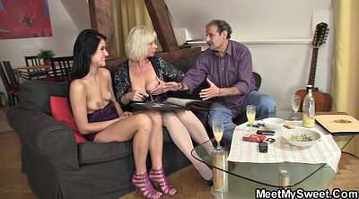 Mom, Young and old, Teaching, Mom threesome