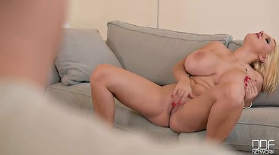 High heels, Solo shaved fingering, Milf solo, Blonde fake tits