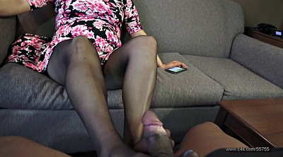 Footjob, Pantyhose feet, Pantyhose footjob, First, Black pantyhose